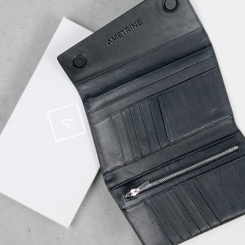 Minimal Modern Unique Black Leather Wallet