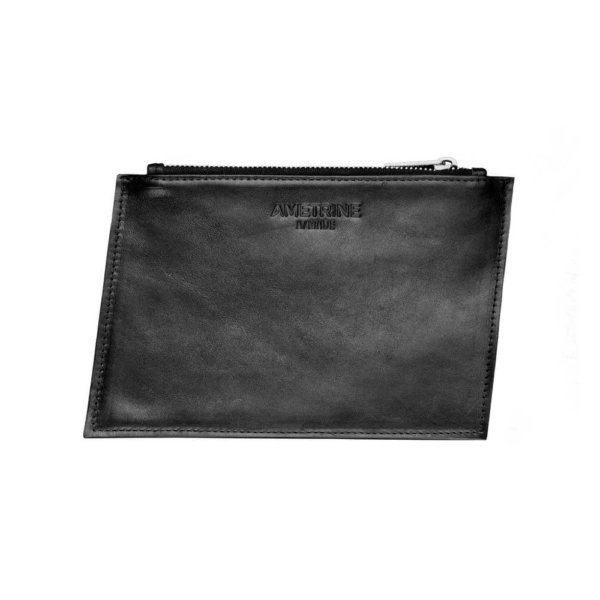 Australian Made Black Geometric Zip Leather Purse