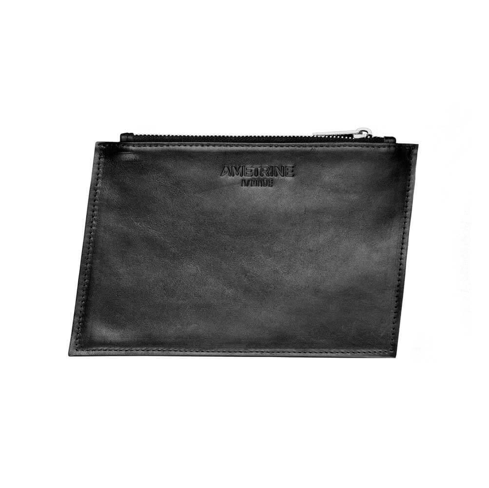 Australian Made Black Geometric Zip Leather Purse